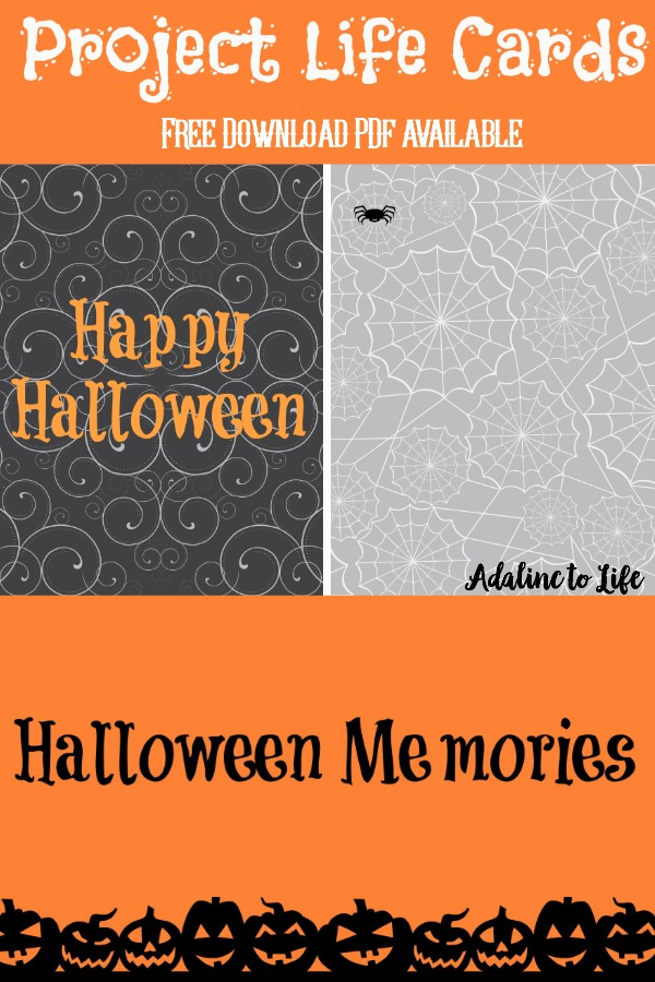 Halloween project life cards for memory keeping or for tip ins for your planner