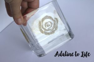 Rose stenciled on glass