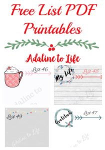 Free List PDF Printables available for download